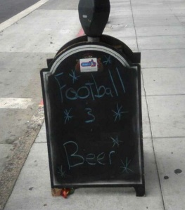 football and beer sign
