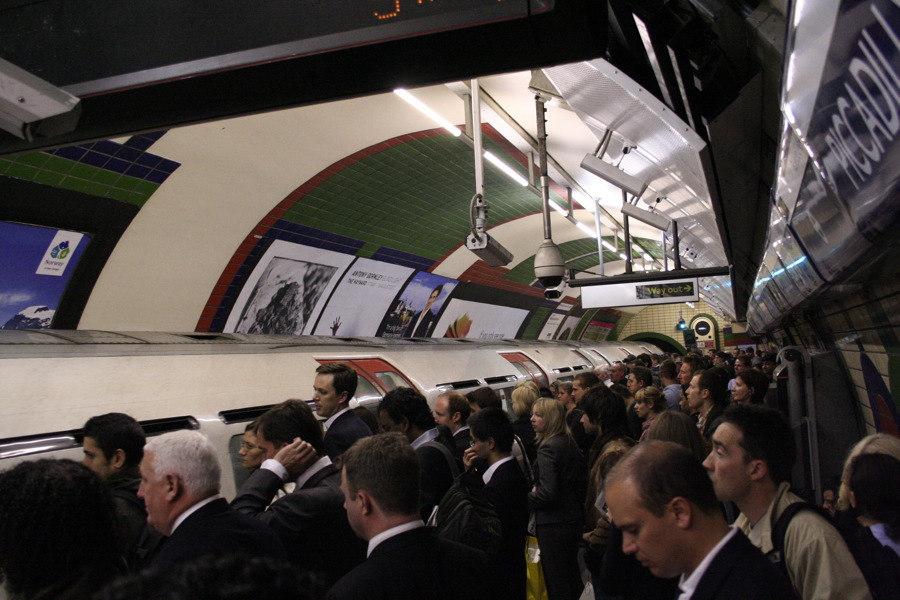 Over crowded tube platform London