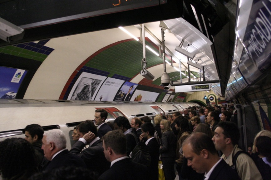 Over crowded tube platform London