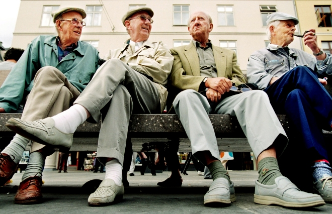 For elderly men sitting on a bench