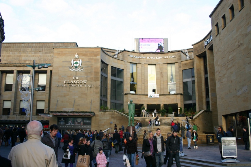 Image of outside of the Glasgow Royal Concert Hall.