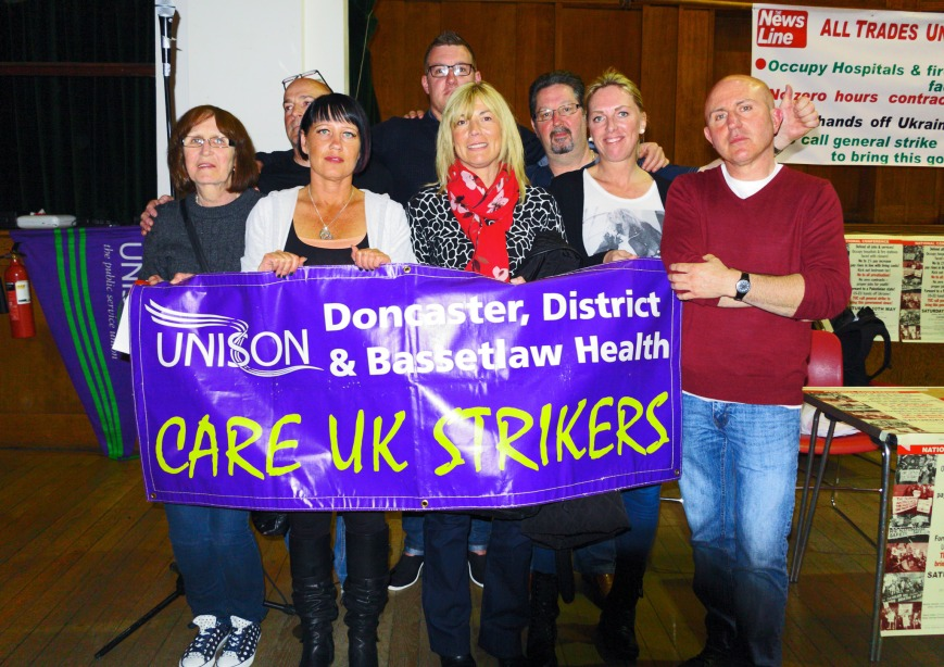 Care workers on strike against private care firm, Care UK