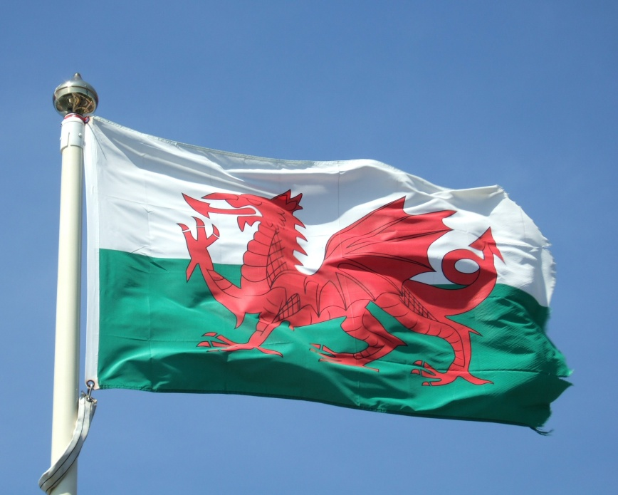 Flag of Wales in the wind