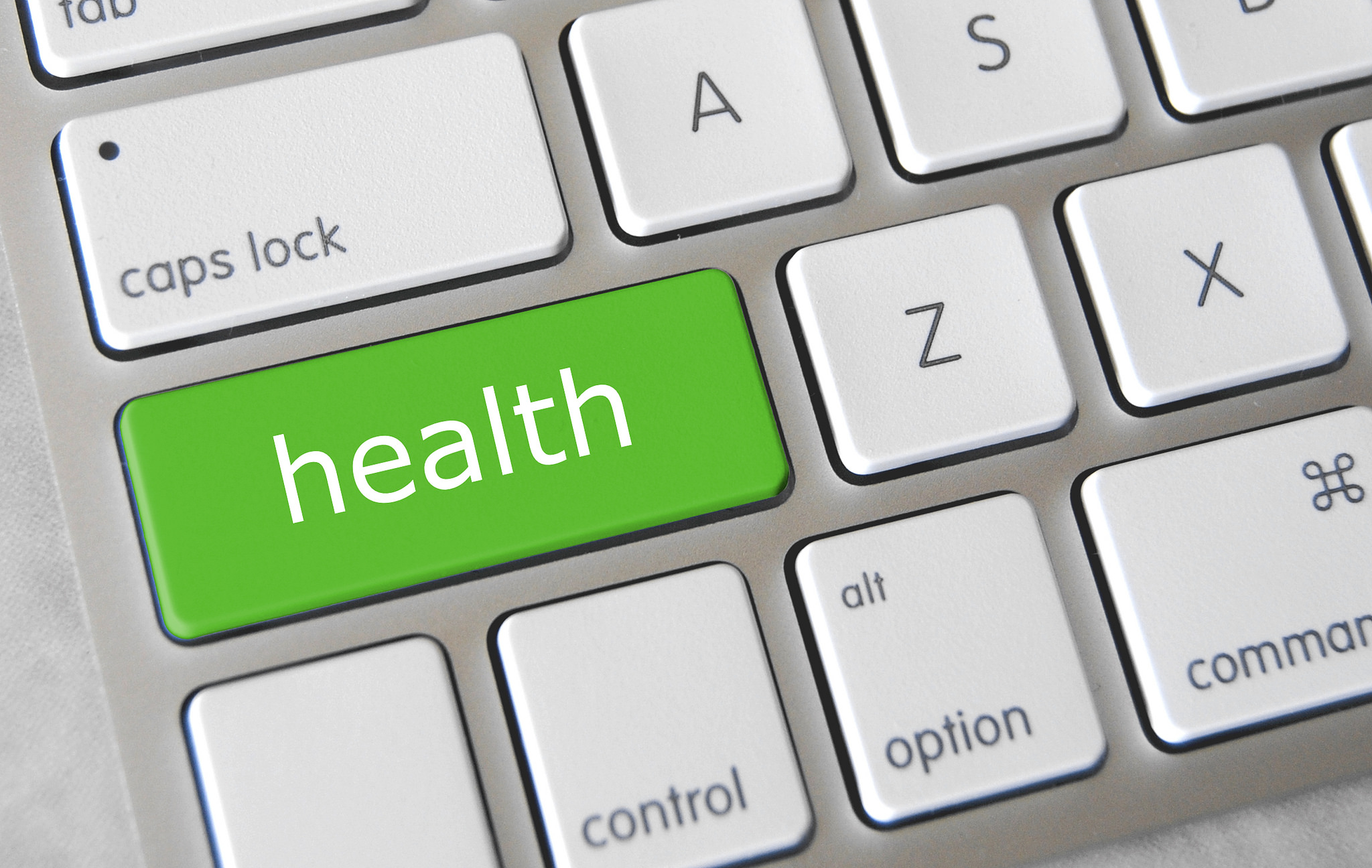 The word health on a keyboard