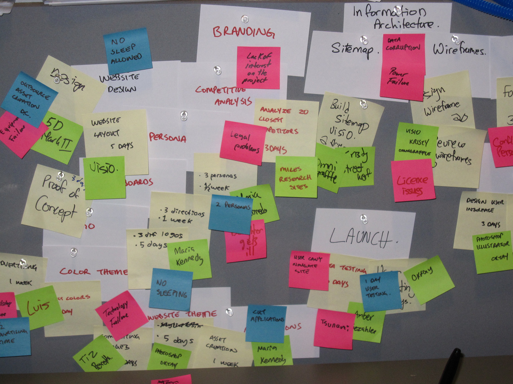 A noticeboard with comments about the development of  agile systems