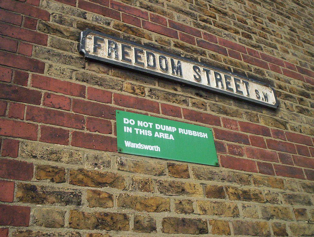 Wall with the words 'Freedom Street'