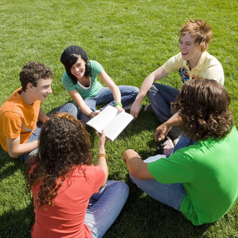 Five teens hang out in a park and share a bible