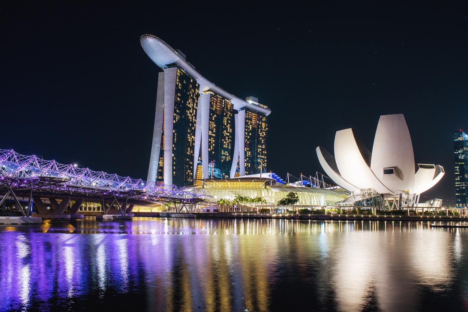 Marina Bay, Singapore, at night.