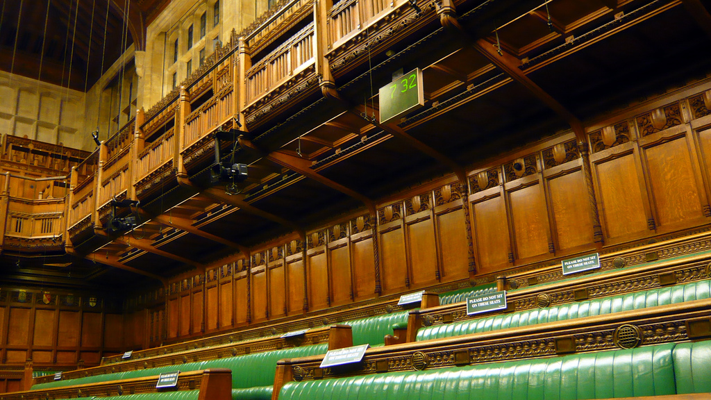 The opposition benches at the House of Commons.
