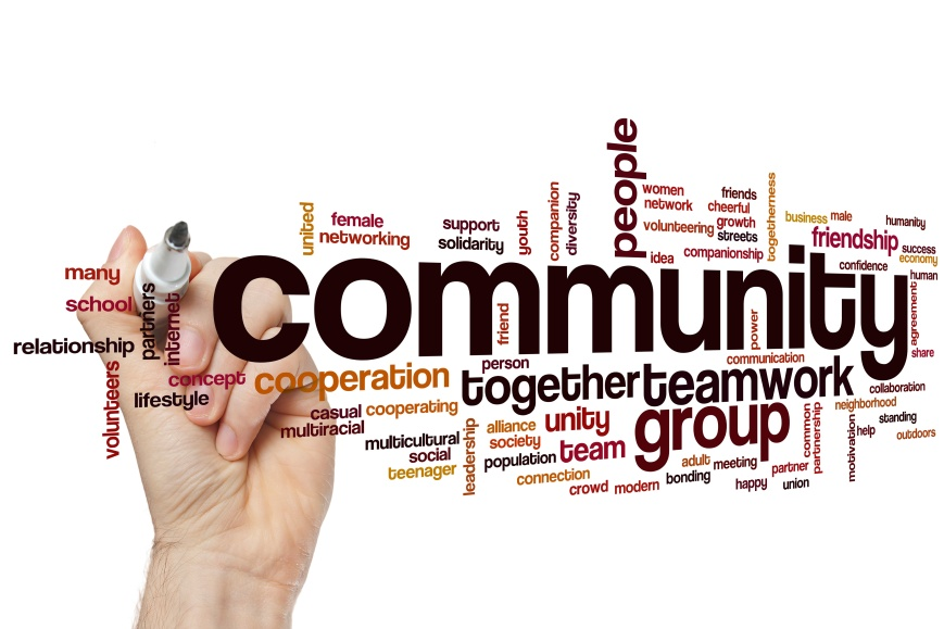 Community concept word cloud background