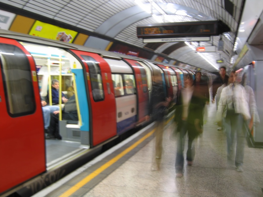 crowd rush on the london tube
