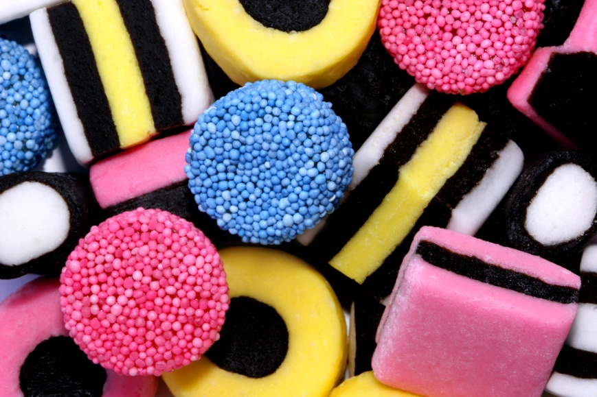 An assortment of liquorice allsorts sweets.