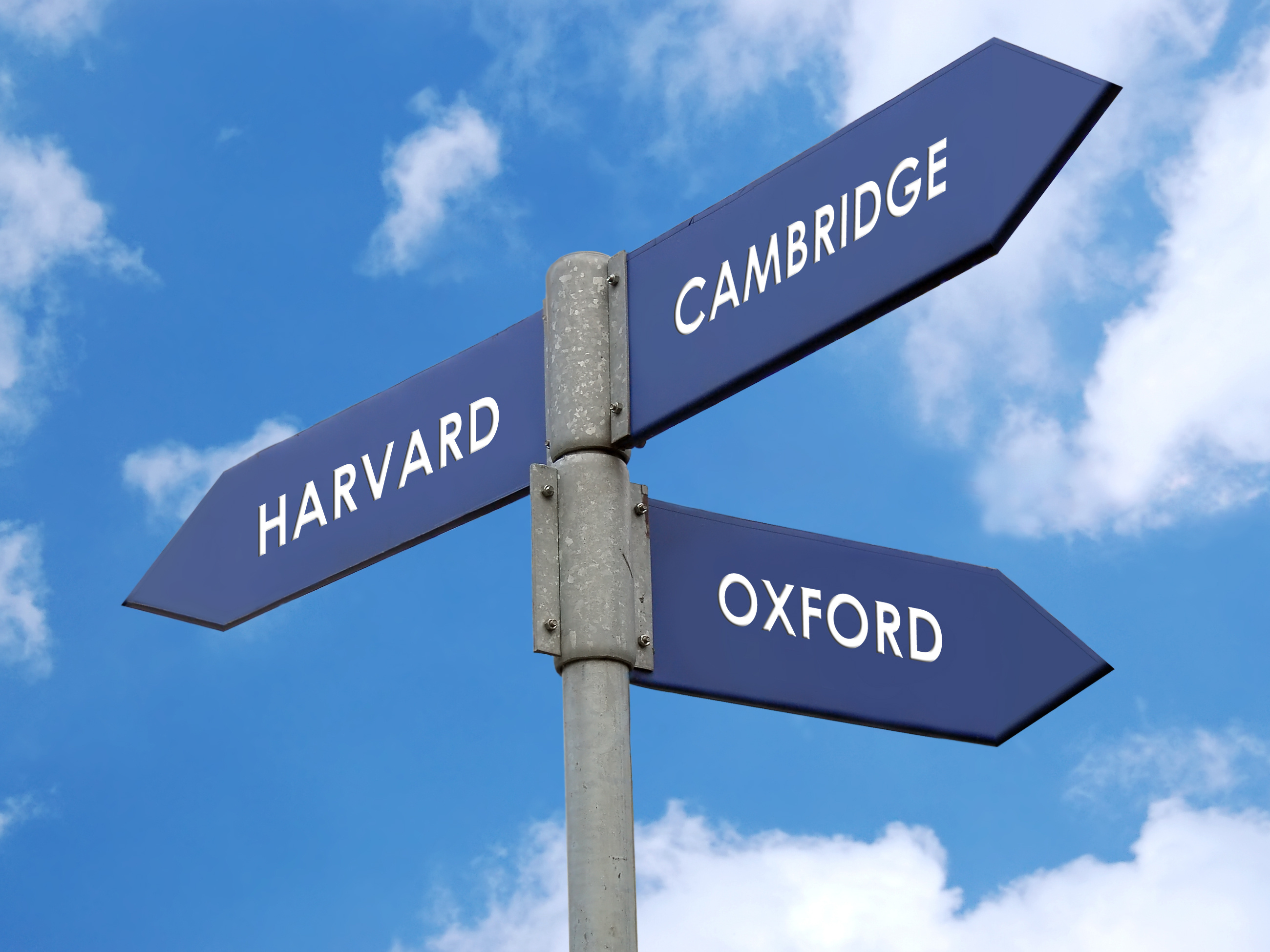 Metal signpost indicating directions of three world famous universities - Harvard / Cambridge / Oxford