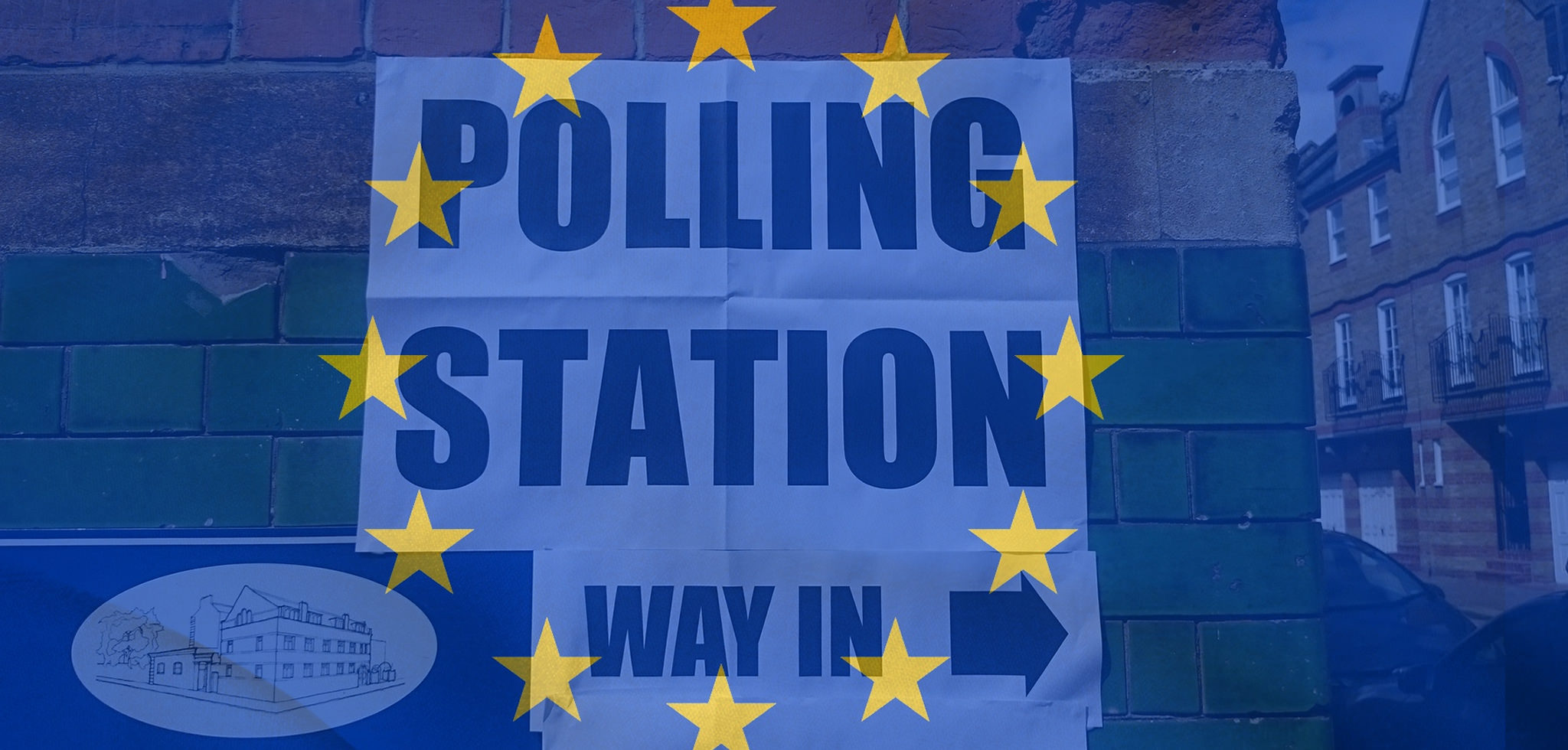 A sign which says 'polling station'', with the EU flag overlapping