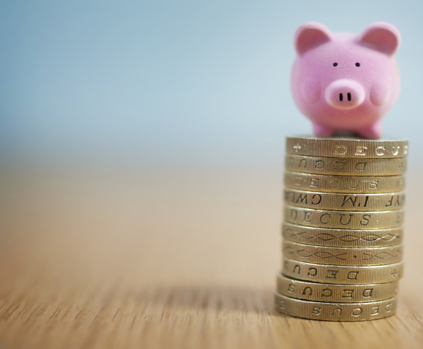 pink pig and coins