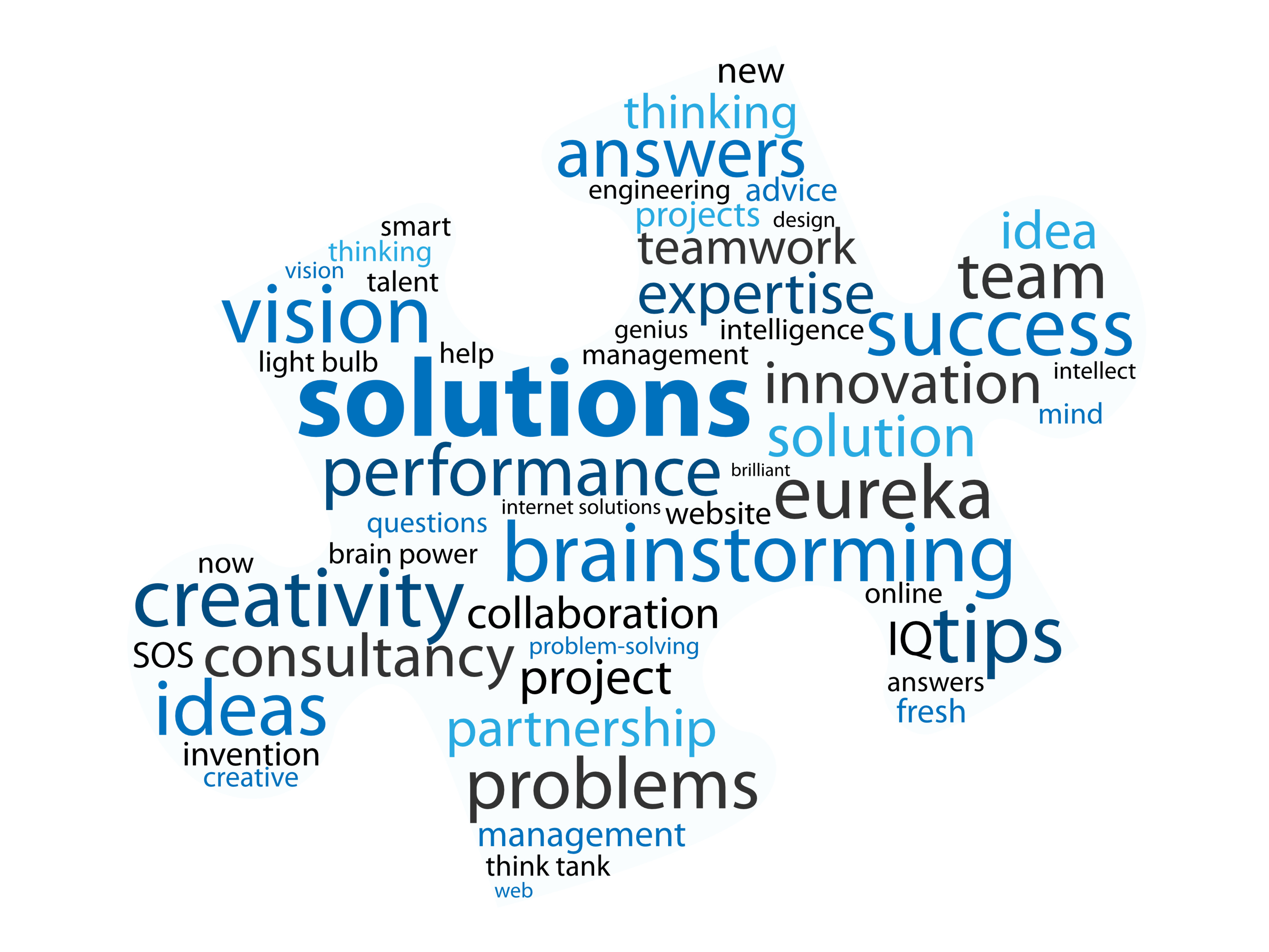 Solution and business words jigsaw