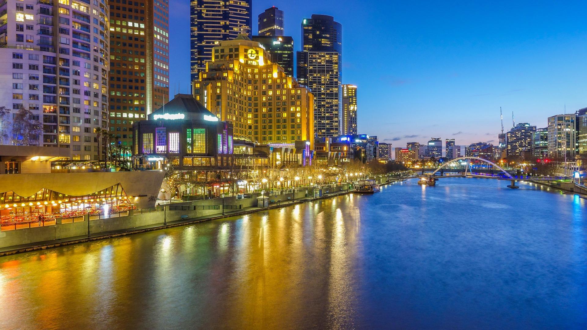 Night cityscape of Melbourne, Australia