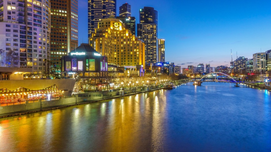 Night cityscape of Melbourne, Australia