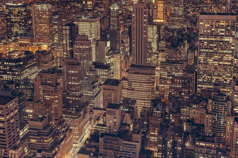 Looking down on densely packed buildings of New York