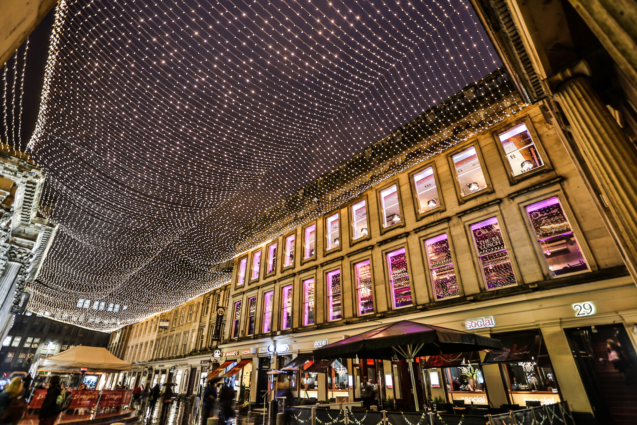 Royal Exchange Square, with sparkling skylights at night
