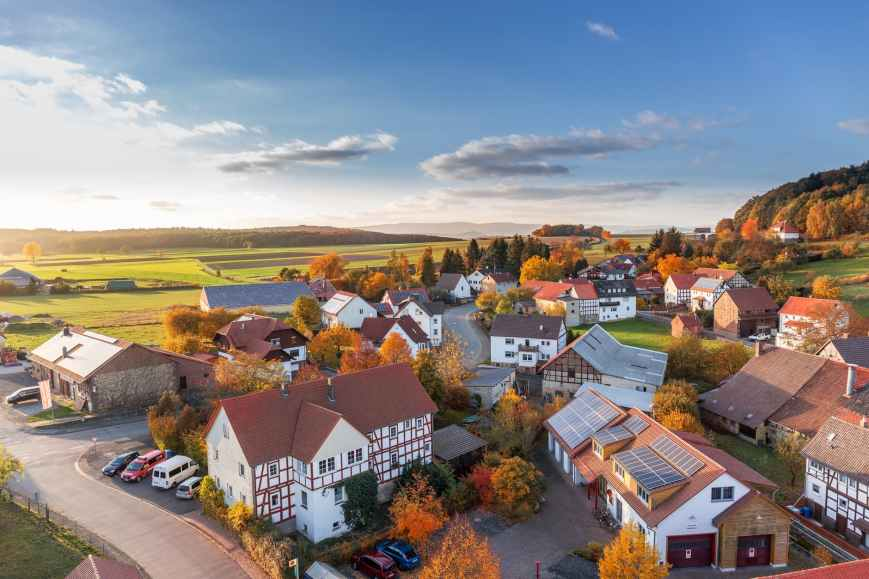 aerial view architecture autumn cars